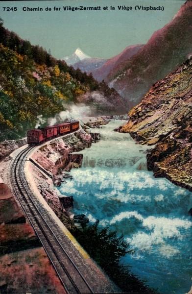 Chemin de fer Viège-Zermatt et la Viège (Vispbach)