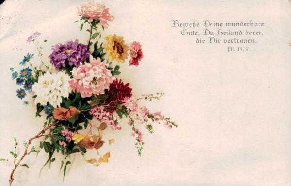 Beweise deine wunderbare Güte, du Heiland derer, die dir vertrauen. Pl. 17,7. Vorderseite