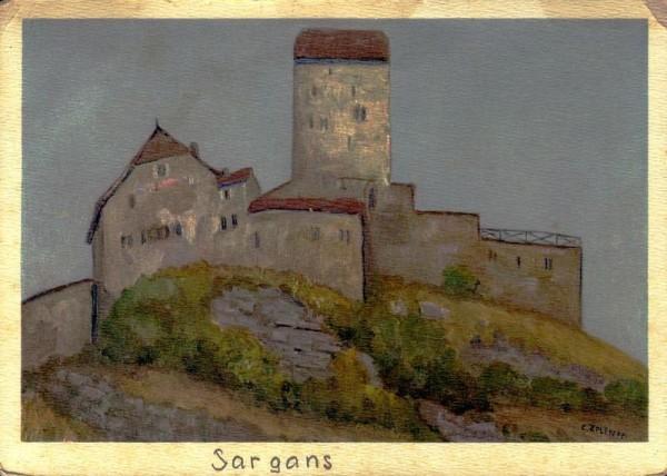 Schloss Sargans von C. Zeltner Vorderseite