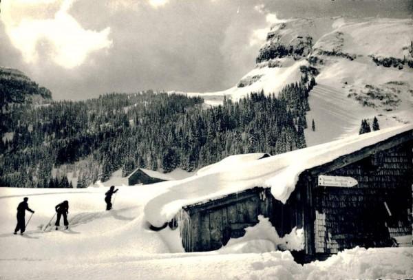 Skigebiet Unterwasser-Wildhaus. Iltios mit Käserruck Vorderseite