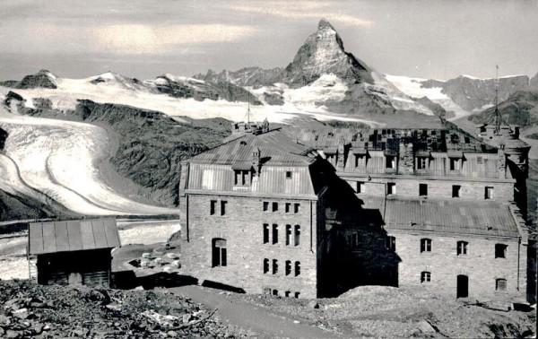 Hotel Gornergrat mit Unt. Theodul-Gletscher u. Matterhorn Vorderseite