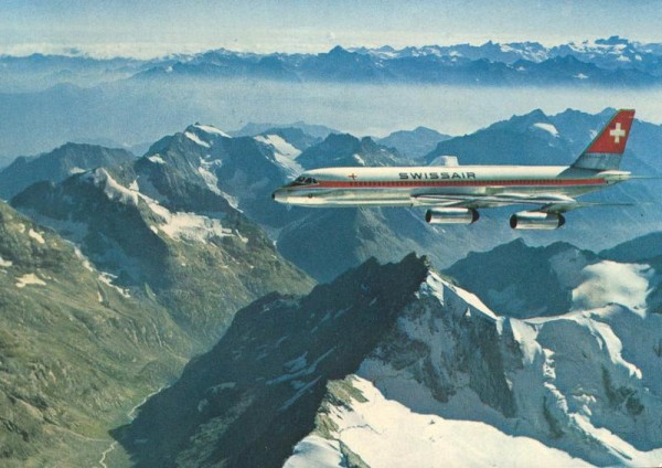 Swissair Coronado über den Alpen Vorderseite
