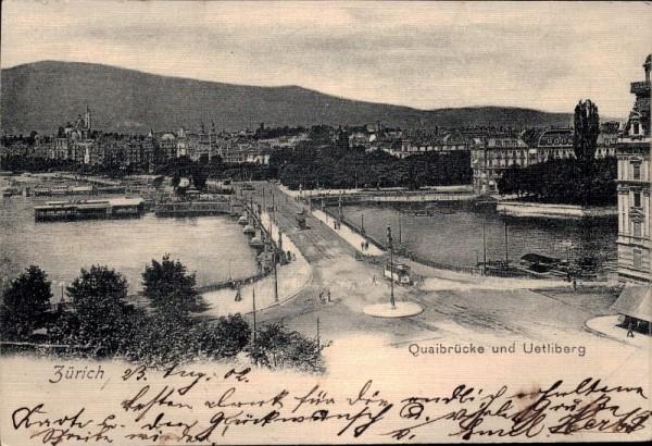Zürich - Quaibrücke mit Uetliberg