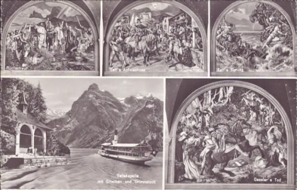 Nach dem Wandgemälde von E. Stückelberg in der Tellskapelle am Vierwaldstättersee