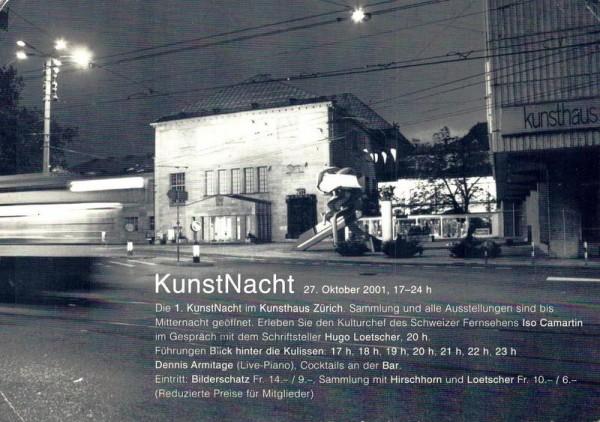 Zürich. 1. KunstNacht 2001 Vorderseite