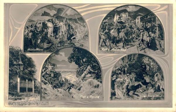 Tellskapelle. Wandgemälde von E. Stückelberg in der Tellskapelle am Vierwaldstättersee Vorderseite