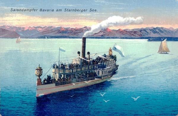Salondampfer Bavaria am Starnberger See, 1925 Vorderseite