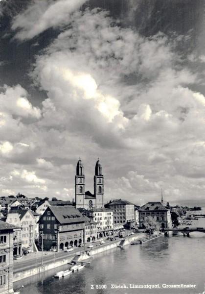 Zürich. Limmatquai, Grossmünster Vorderseite