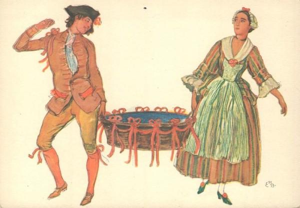 Vevey, Fête des Vignerons 1927. Porteurs de la Corbeille de Noce. Chocolats Cailler.  Vorderseite