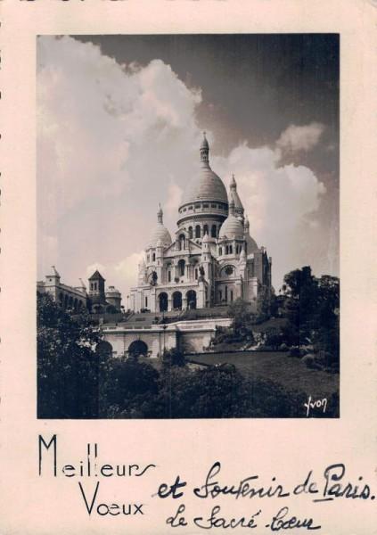 Sacre Coeur Cathedral, Parvis du Sacré-Cœur, Paris, Frankreich, Meilleurs Voeux Vorderseite