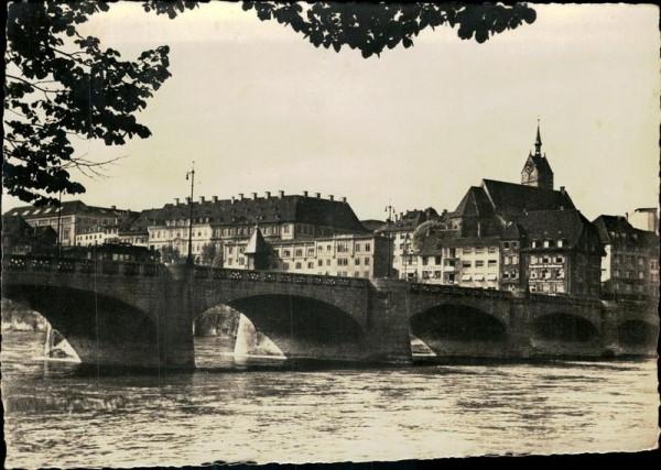 Basel/Mittlere Rheinbrücke mit Martinskirche Vorderseite
