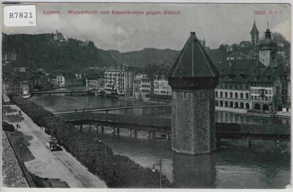 Luzern - Wasserturm und Kapellbrücke gegen Gütsch - Tram Tramway