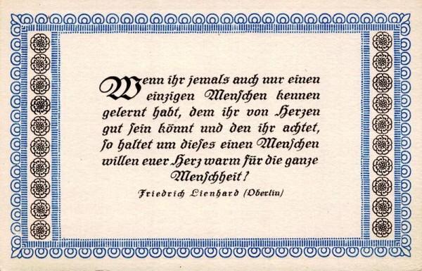 Spruchkarten von Friedrich Lienhards Werken, Oberlin; Wenn ihr jemals auch nur einen einzigen Menschen... Vorderseite