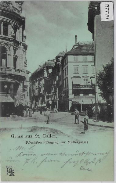 Gruss aus St. Gallen - Rösslithor - 1898 Eingang zur Multergasse - animee belebt