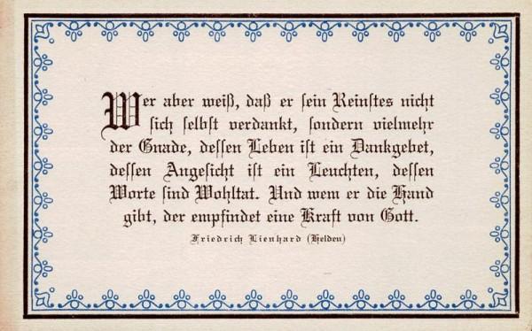 Spruchkarten von Friedrich Lienhards Werken, Helden; Wer aber weiss, dass er sein ... Vorderseite