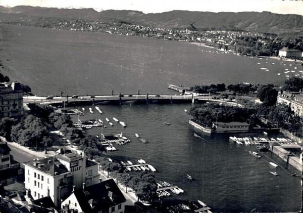Zürich. Quaibrücke mit Blick auf den See Vorderseite