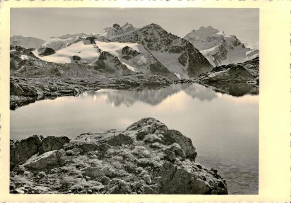 Berninagruppe vom Piz Rosatsch aus Vorderseite