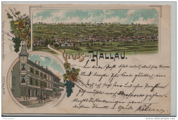 Hallau, Gruss aus - farbige Litho - Panoramaansicht, Hotel Falken