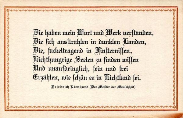 Spruchkarten von Friedrich Lienhards Werken, Der Meister der Menschheit; Die haben mein Wort und Werk... Vorderseite
