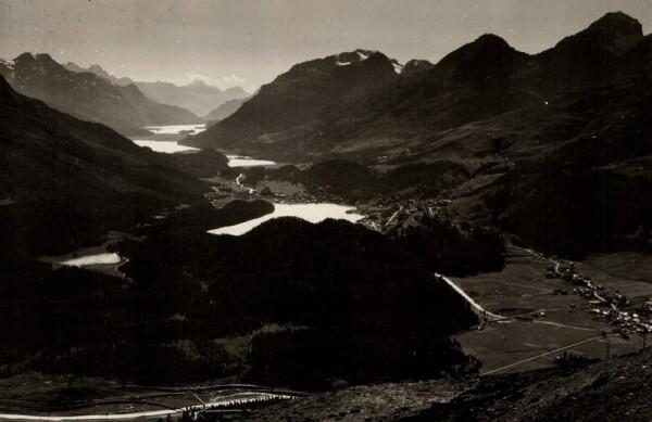 Blick von Muottas Muragl auf die Ober-Engadiner Seen. 1948 Vorderseite