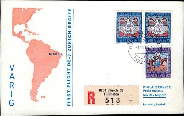 Erstflug Zürich Recife, DC8 Vorderseite
