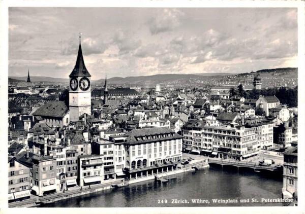 Zürich. Wühre, Weinplatz und St. Peterkirche Vorderseite