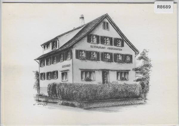 Freienbach SZ - Restaurant Obstgarten - Doppelkarte Werbekarte