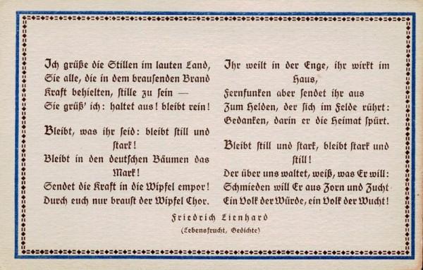 Spruchkarten von Friedrich Lienhards Werken, Lebensfrucht; Ich grüsse die Stillen im lauten Land... Vorderseite