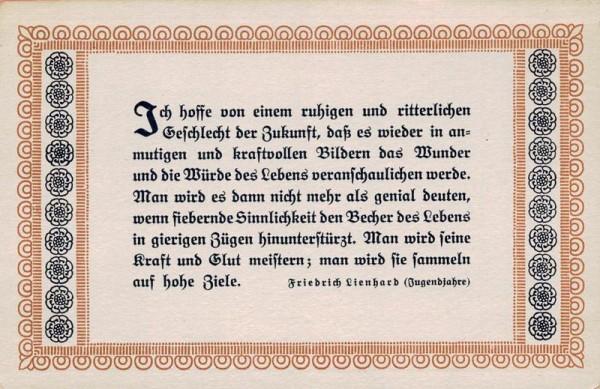 Spruchkarten von Friedrich Lienhards Werken, Jugendjahre; Ich hoffe von einem ruhigen und ritterlich... Vorderseite