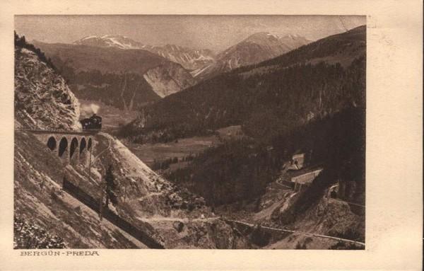 Bergün-Preda. Rhätische Bahn Vorderseite