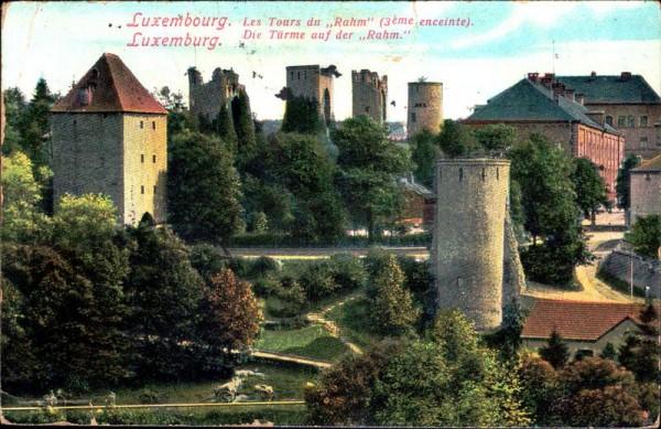 Luxemburg, Luxembourg, die Türme auf der Rahm Vorderseite