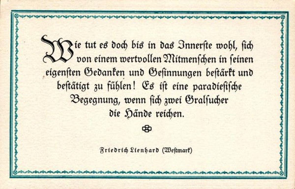 Spruchkarten von Friedrich Lienhards Werken, Westmark; Wie tut es doch bis in das Innerste... Vorderseite