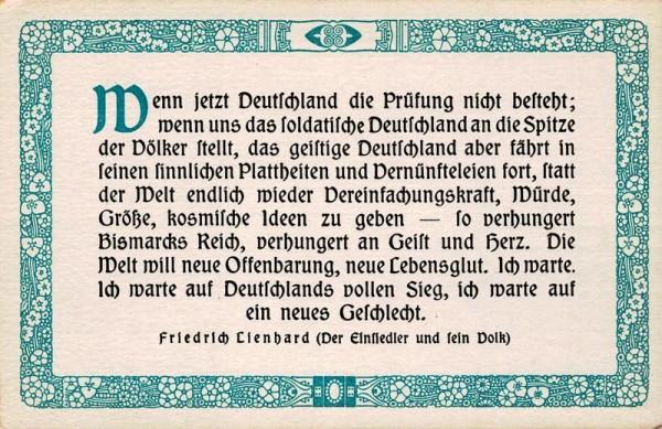 Spruchkarten von Friedrich Lienhards Werken, Der Einsiedler und sein Volk; Wenn jetzt Deutschland die Prüfung.. Vorderseite