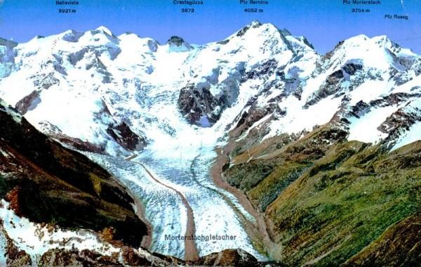 Morteratschgletscher und Berninagruppe vom Piz Languard Vorderseite