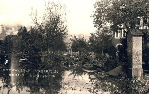 Hochwasser 25.9.1927, Schaan Vorderseite