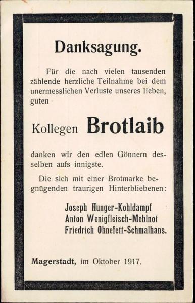 Kollege Brotlaib, 1917 Vorderseite
