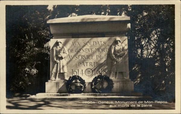 Genève, Monument de mon repos aux morts de la patrie Vorderseite