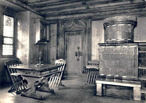 Schweizerisches Landesmuseum in Zürich. Kleines Zimmer aus der Frauenmünsterabtei 1489 Vorderseite
