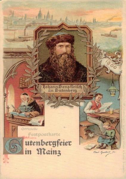 Postkarte zur Gutenberg - Feier im Jahr 1900, Mainz Vorderseite