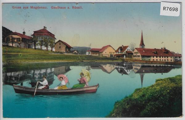 Gruss aus Magdenau - Gasthaus z. Rössli Damen im Boot - Mode - Litho
