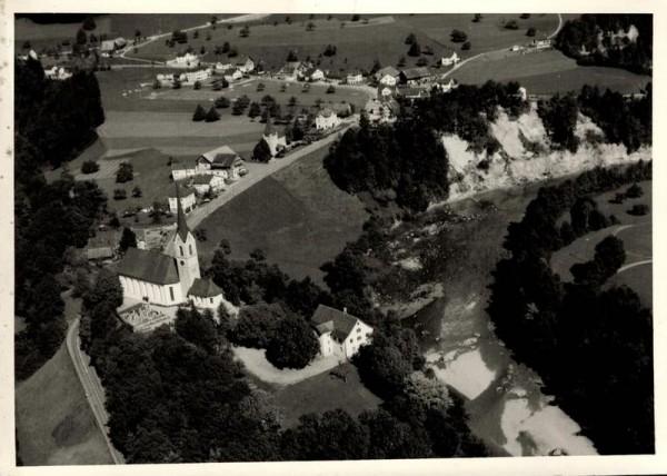 9604 Lütisburg SG, Kath. Kirche St. Michael, Evang. Kirche, Flawilerstr., Thur Vorderseite