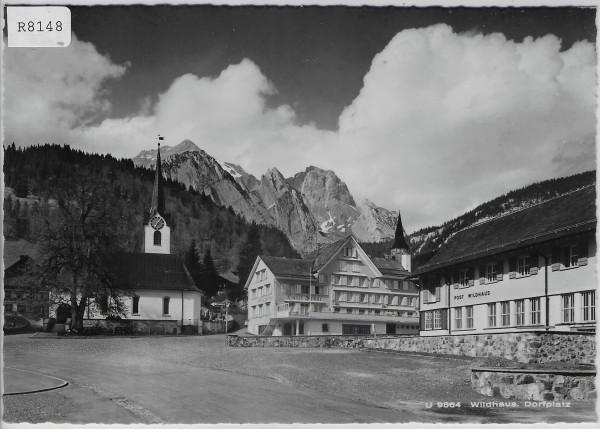 Wildhaus - Dorfplatz mit Post, Kirche u. Hotel Sonne