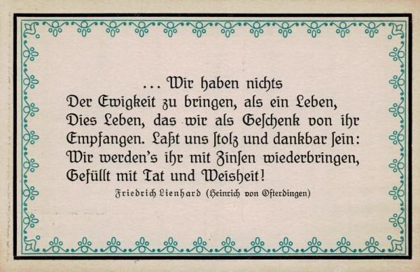 Spruchkarten von Friedrich Lienhards Werken, Heinrich von Osterdingen; ...Wir haben nichts der Ewigkeit... Vorderseite