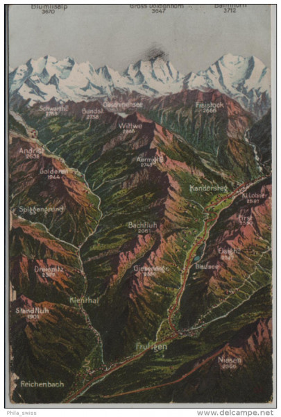 Kienthal - Kandertal - Frutigen Kandersteg - Reichenbach - Relief Karte