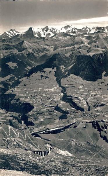 Niesenbahn. Blick auf Mülenhorn und Reichenbach, Jungfraugruppe. 1943 Vorderseite