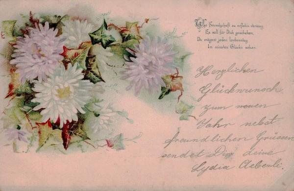 Grusskarte, Blumen, 31.12.1900 Vorderseite