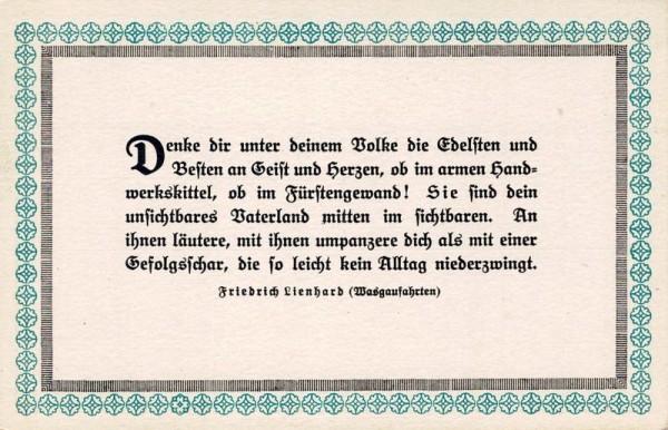 Spruchkarten von Friedrich Lienhards Werken, Wasgaufahrten; Denke dir unter deinem Bolke... Vorderseite
