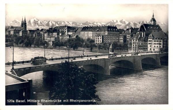 Basel - Mittlere Rheinbrücke mit Rheinpanorama Vorderseite