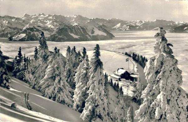 Rigi-Staffelhöhe Hotel und Pension Edelweiss, Blick auf Berneralpen Vorderseite