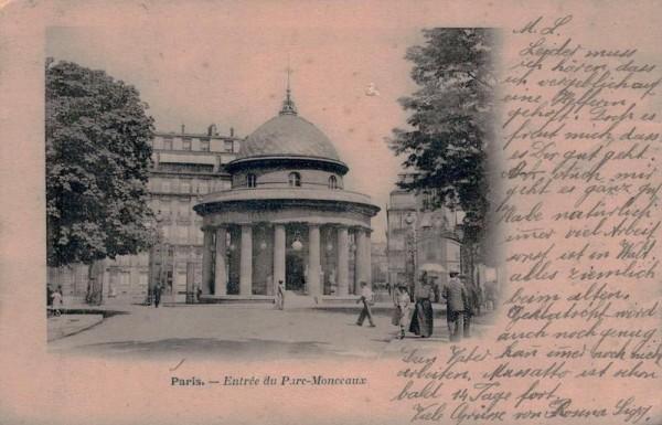Entrée du Parc Monceaux, (Monceau), Paris. 1906 Vorderseite